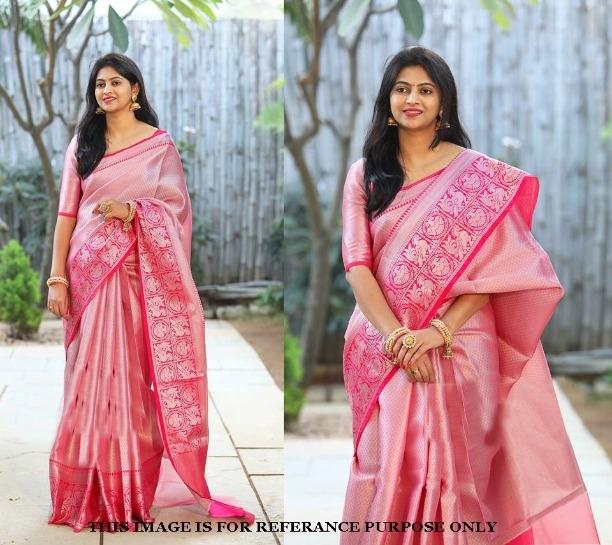 4b1d26697d Wedding Wear Pink Banarasi Silk Saree Thread Designer Bridal Women Sari 1429