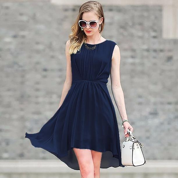 3a1fed185f7e New Arrival Dark Blue Plain Premium Georgette Designer Party Wear Full  Stitched One Piece Dress
