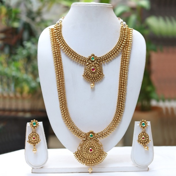 195192a10c Buy LE0000000057 Latest Antique Design Green maroon Necklace online from  Look Ethnic
