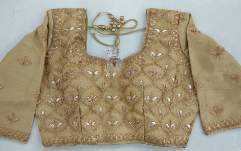e37369a52eca14 Buy Golden Full Sleeves Heavy Designer Blouse online from Womanora