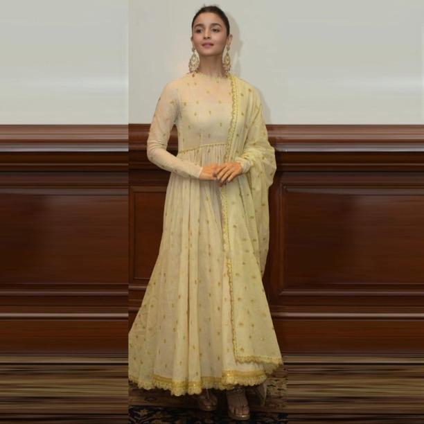 9697aeaff0 Buy Golden Alia Bhatt Designer New Diamond Dress Long Georgette Fancy Flair Gown  Indian Bollywood Salwar Suit online from Jio Ethnic