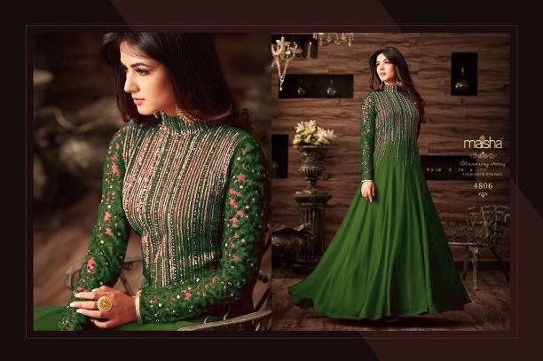 57b5c761533 Maisha Maskeen Wedding Wear Embroidery Worked Green Semi Stitched Heavy  Work Anarkali Suit