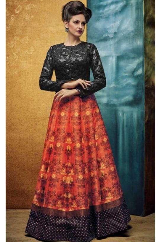 e061cb8403caf7 Ethnic Wear Orange Banglori Silk Floral Printed Charcoal Grey Crop Top  Lehenga