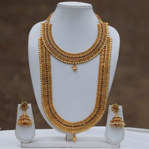 a25138e128a Buy LE0000000032 Beautiful Golden Long & Short Semi Bridal Necklace Set  online from Look Ethnic