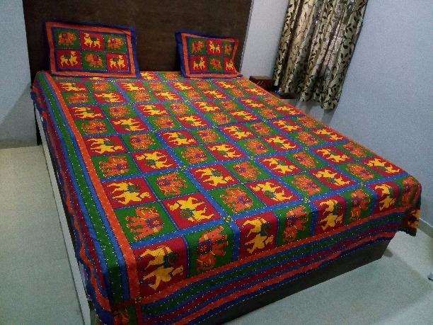 Rajasthani Kantha Work Cotton Bed Sheet