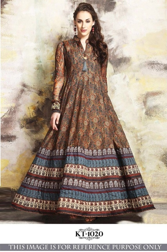 653d758e0a New Stylish Multicoloured Chanderi Micro Cotton With Digital Print Party  Wear Designer Gown