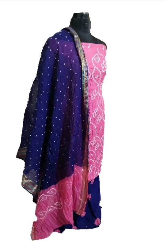 b3648b823f Pink and blue Bandhani dress material. Dress Material. Yellow and Maroon ...