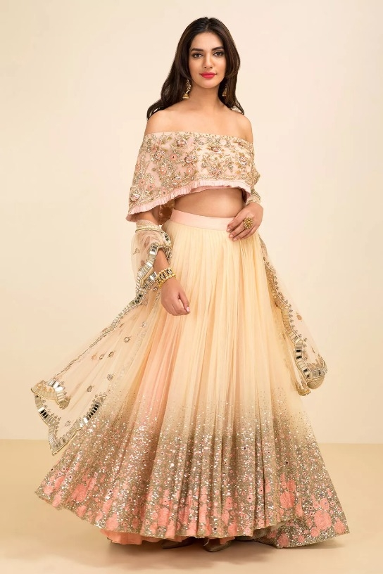 f82f61d309b Indian Style Modern Embroidered Bangalore Silk Semi Stitched Lehenga with Off  Shoulder Blouse