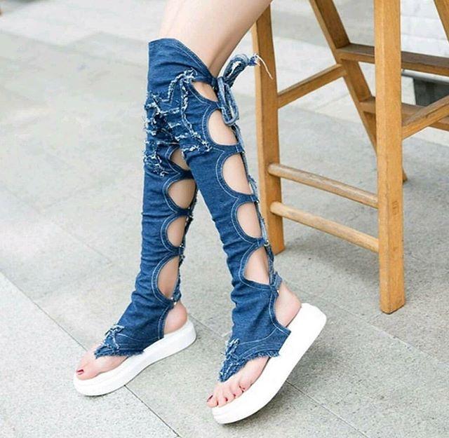 Buy Blue Denim Long Sandals (Supreme Quality) online from gatewaytoshopping 8c5523e64d