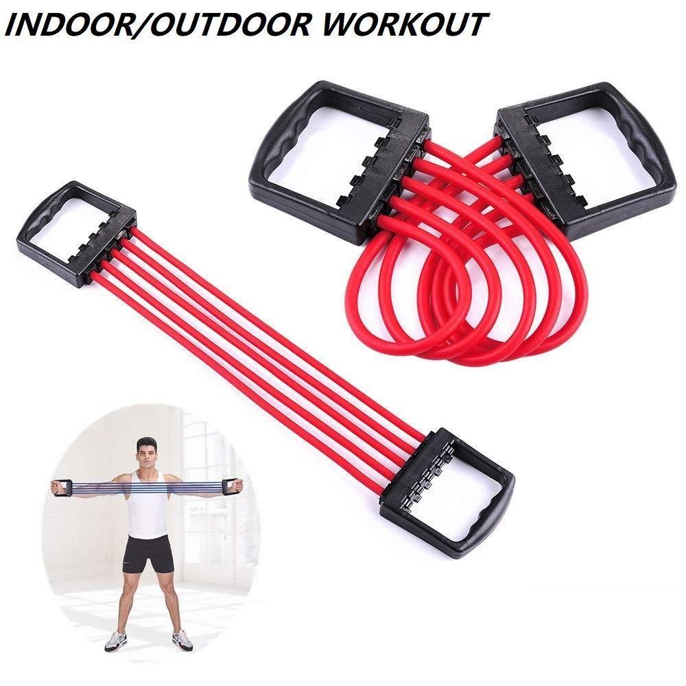 Gym Utility -Adjustable Multi-Function 5 Rubber Tubes Chest Expander for Men & Women