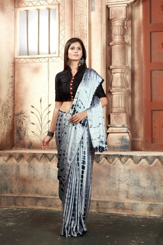 be4cae2a73 Japan Crepe Silk Saree SHABANA GREY (Code: 1GJX). Share with friends