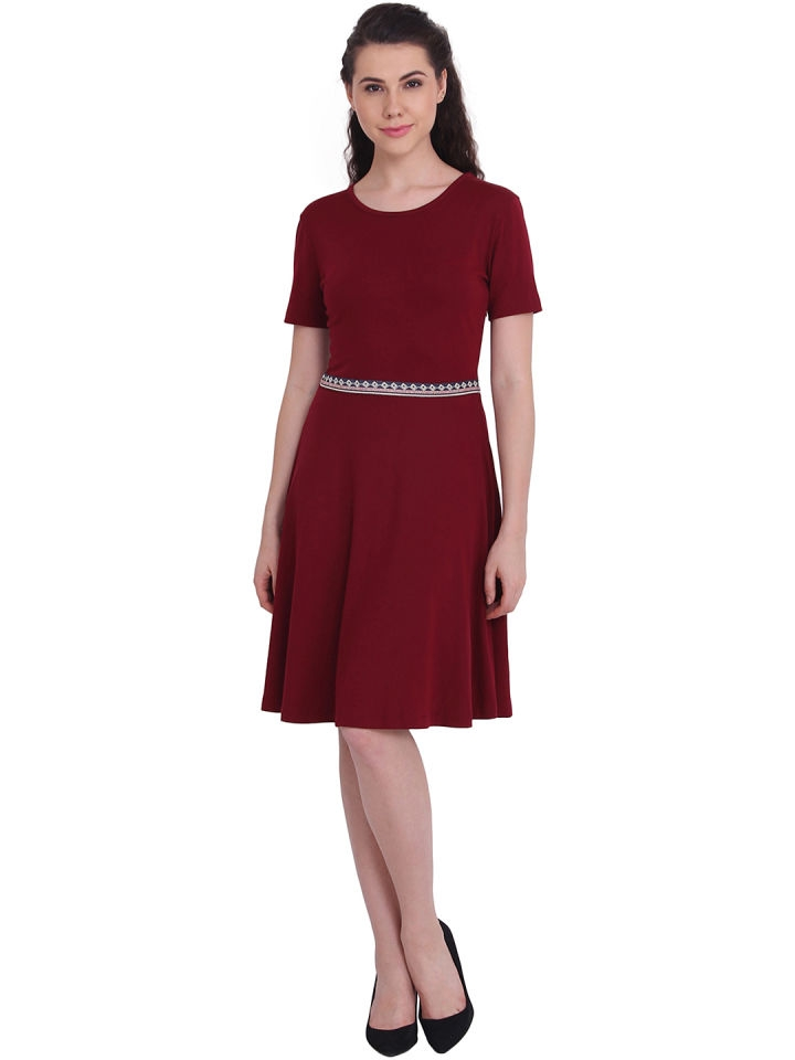 86f95cb2b755 Buy Maroon Solid A-Line Dress online from Live Fashion