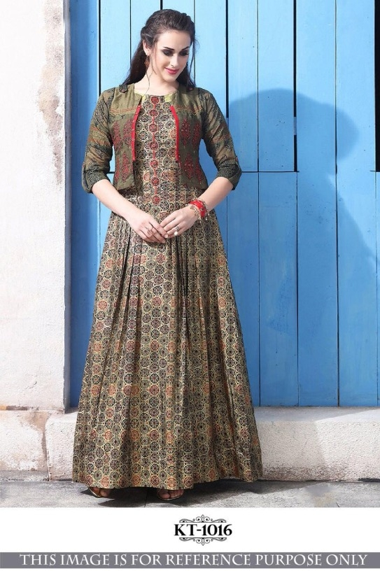 New Stylish Multicolor Printed Chanderi Cotton Gown With Koti Party Wear  Designer Gown e2927fc98