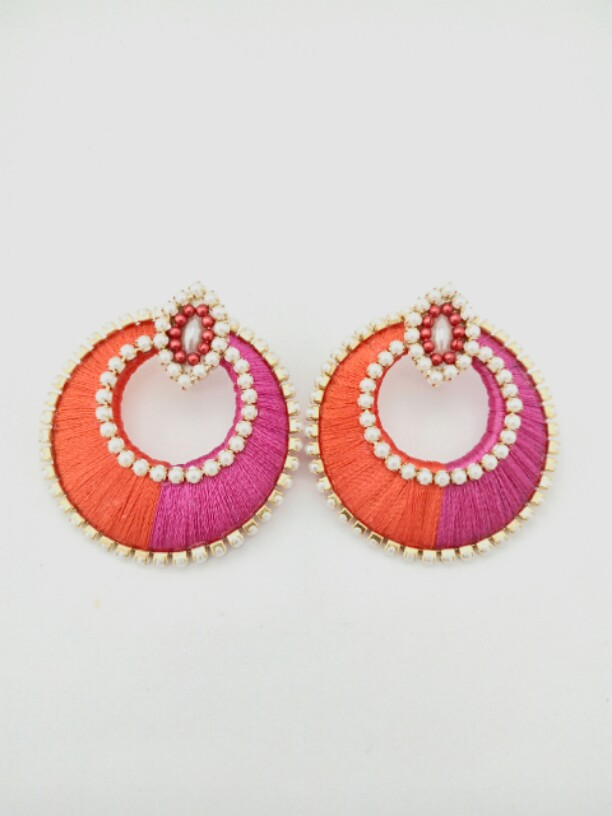 Silk Thread Earrings Pink And Orange Colour Online From Pinai Handicraft