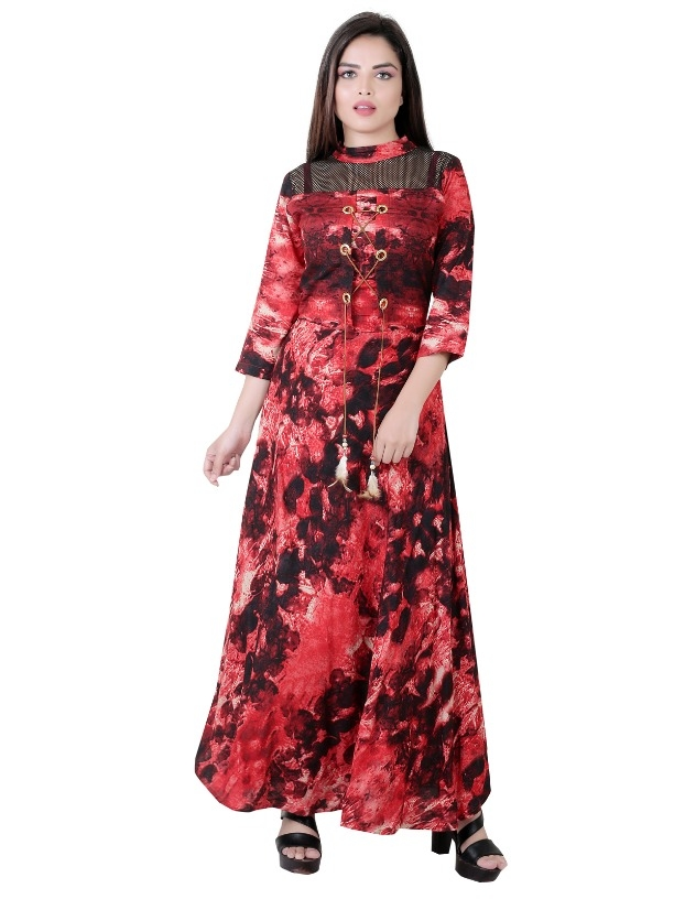 5dd6908a12 Buy Garun Red Floral Print Cotton Gown Dress For Womens online from ...
