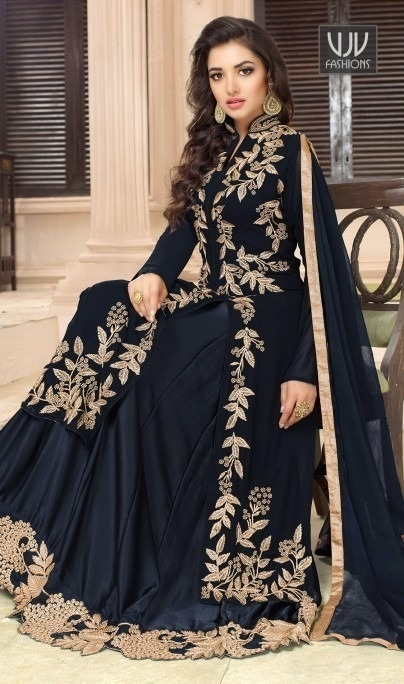 4a3415877c Buy Fancy Black Colour Georgette Embroidered Sharara Top Lehenga ...