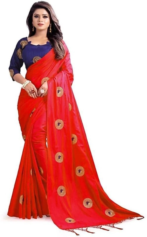 5944ed1e2704a Red Bridal Party Wear Silk Designer Embroidered Saree Ethnic New Indian  Traditional Sari Blouse