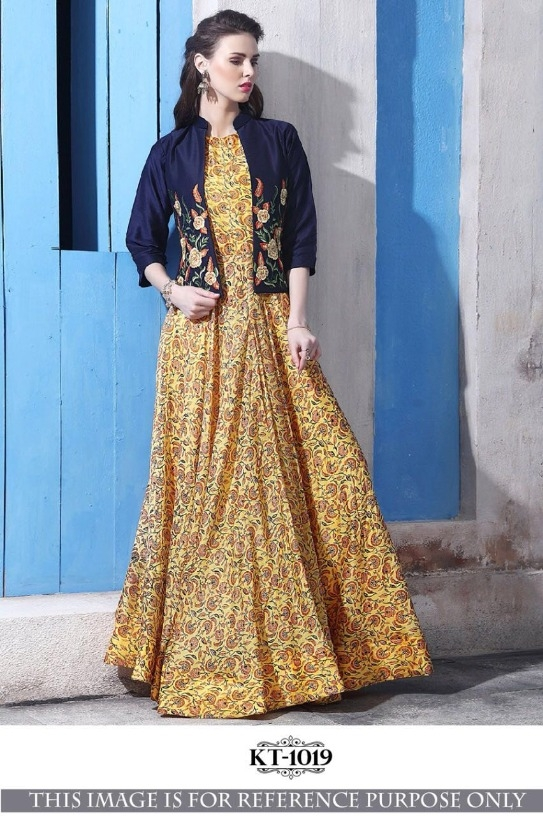 Buy New Stylish Yellow & Blue Chanderi Cotton Resham Embroidered ...