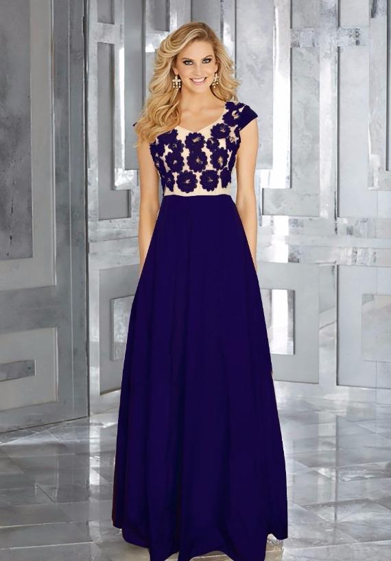 Buy Stylish Designer Poly Silk & American Crepe Blue Plain Stitched ...