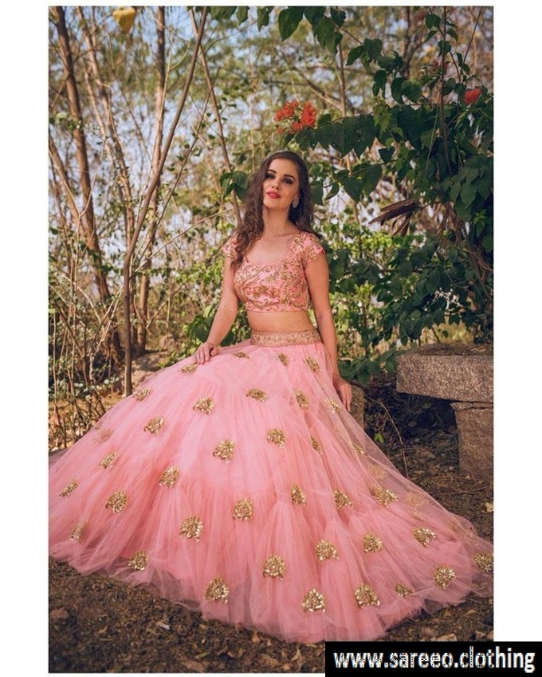3e6ff3e67 Latest Bollywood Designer Light Pink Embroidered Net Party Wear Lahenga  Choli for Ethnic Indian Wedding