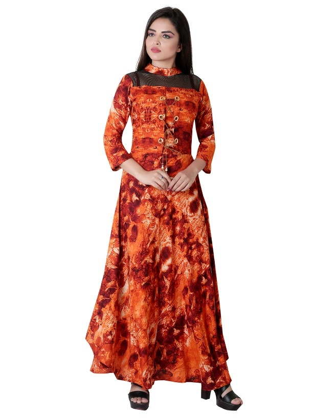 26283460ea Buy Garun Orange Floral Print Cotton Gown Dress online from Garun
