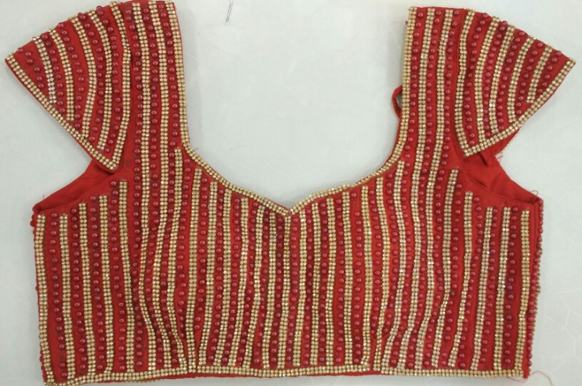 0154b26797a23a Buy Full Moti   Diamond Work Designer Blouse- Red online from Womanora