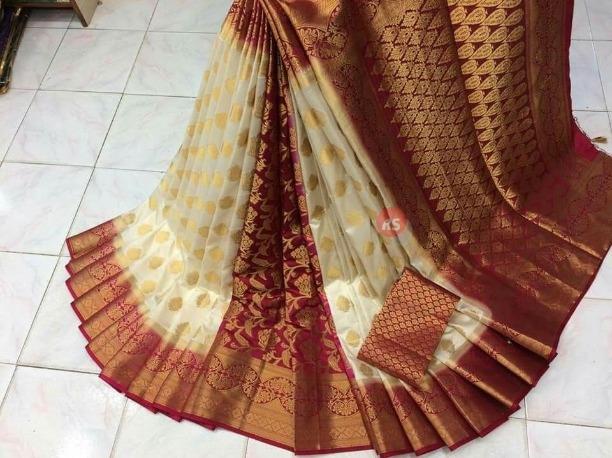 d5634d7e86 Buy Bridal Bollywood Kanjivaram Silk Saree Women Designer White Maroon  Party Indian Sari online from Jio Ethnic