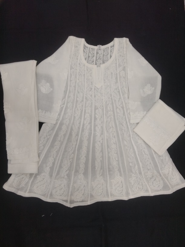 c508cce671 Buy Hand Embroidered White Cotton Lucknow Chikankari Anarkali Kids Dress -  S7256 online from Shyamal Chikan Industries