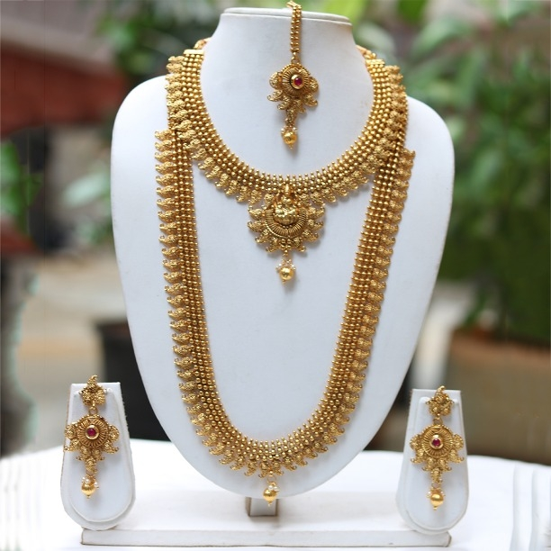9d9c652cf28 Buy LE0000000030 Beautiful Ruby Maroon Color Long Necklace Set online from Look  Ethnic