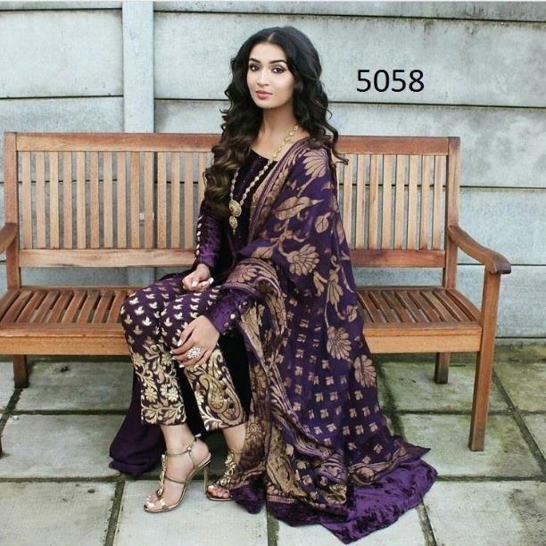 59e97e2253 Designer Latest front Slit Velvet Salwar Kameez Suit Indian Designer  Anarkali Pakistani Bollywood Ethnic Suit