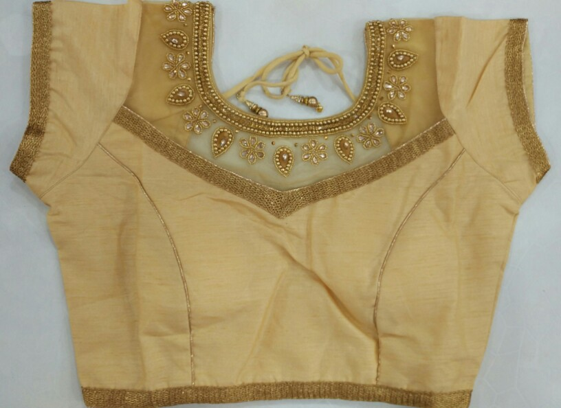9165919ccbfcb6 Buy Designer Golden Heavy Blouse with Sleeves attached online from ...