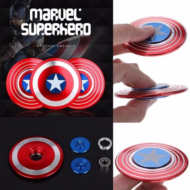 Captain America Metal Shield Fidget Hand Spinner High Speed Bearing Focus Toys