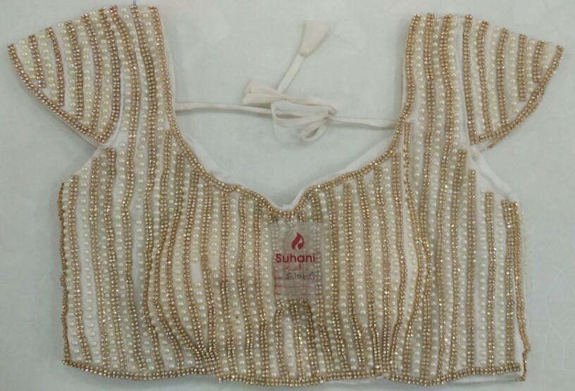 124c7fca4f8cc6 Buy Full Moti   Diamond Work Designer Blouse- White online from Womanora