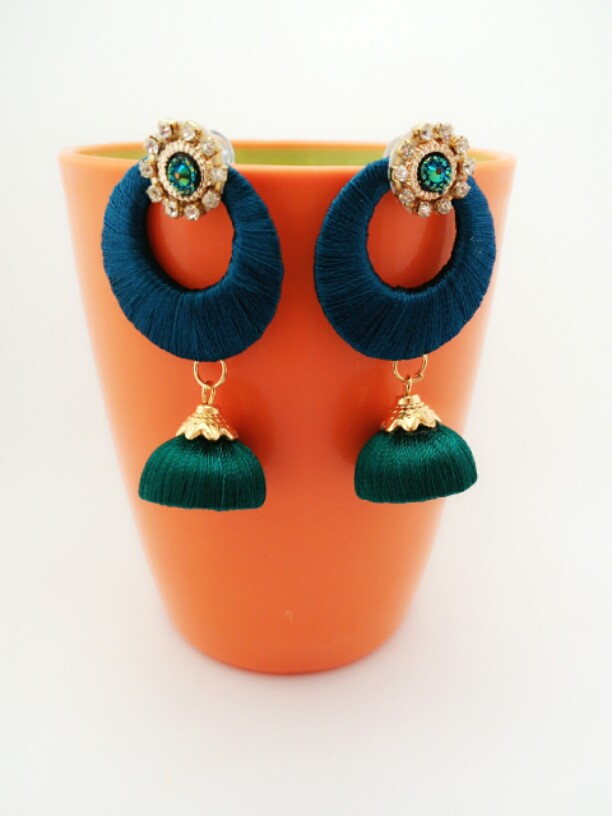 Silk Thread Earrings Blue And Green Colour Online From Pinai Handicraft
