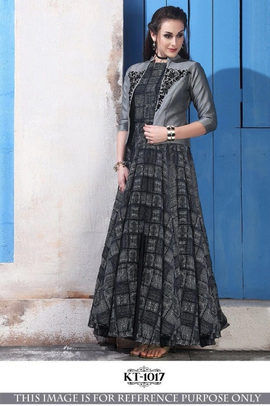 aa0438e966 New Stylish Grey Chanderi Cotton Printed Flared Party Wear Designer Gown