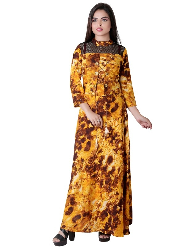 630e6eabfc Buy Garun Yellow Floral Print Cotton Gown Dress online from Garun