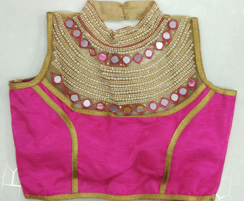 Stand Collar Blouse Designs : Buy heavy designer blouse with moti work stand collar rani color