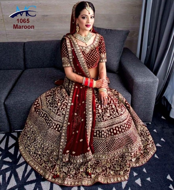 a94636423f Wedding Wear New Designer Velvet Bridal Indian Ethnic Maroon Embroidered  Diamond Lehenga Choli 1351