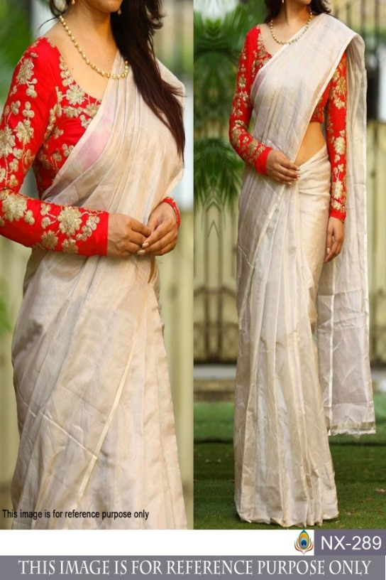d77dc11f4d Festive Wear White Chanderi Silk Saree Lattest Designer Fancy Party Uniform Sari  Women