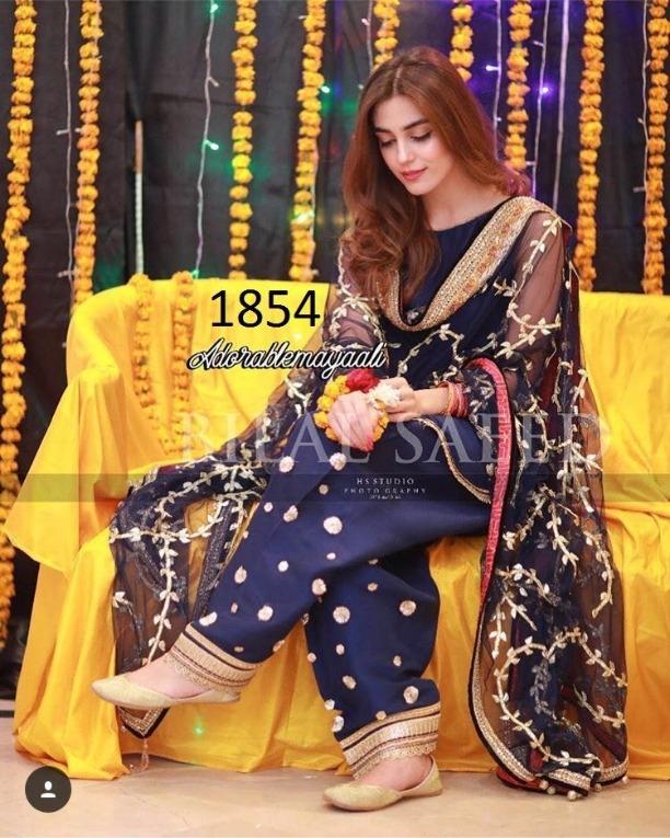 5629c7b27608 Exclusive Indian Pakistani Celebrity Maya Ali Designer Blue Tapeta Silk  With Embroidery Work Salwar Kameez Anarkali