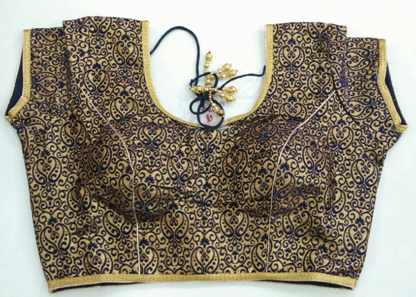 e404de4fe3fcca Buy Brocade Navy Blue Designer Blouse online from Womanora