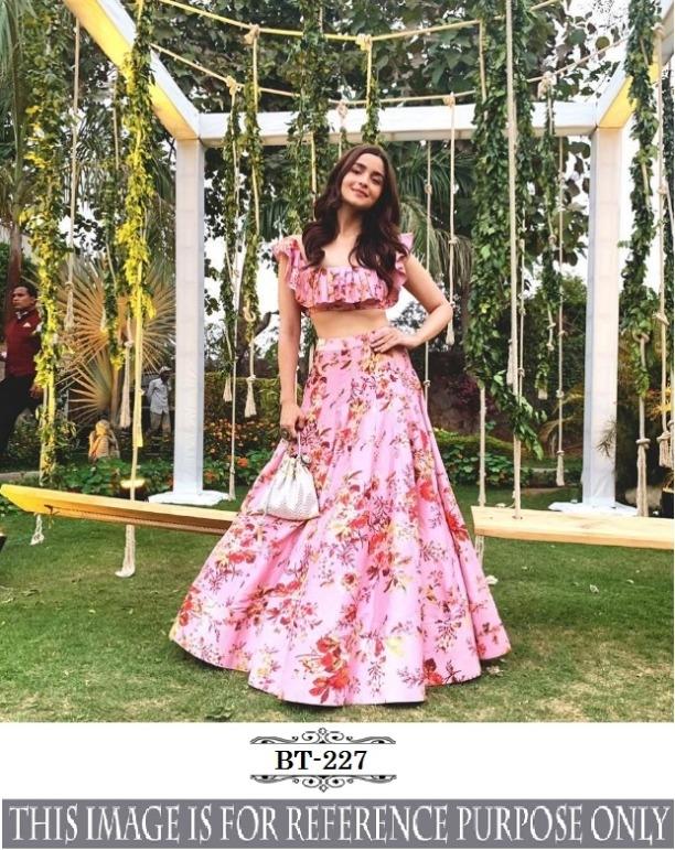 42add536dc3e47 New Ethnic Designer Pink Silk Floral Printed Lattest Lehenga Choli Party  Wear 1120