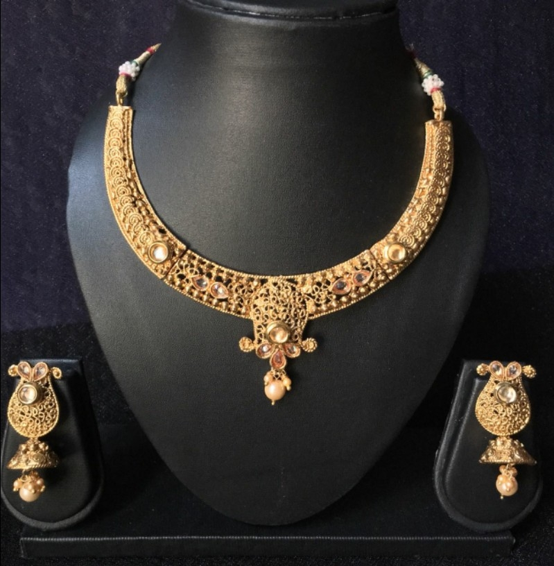 0ef8dab251 Buy 1 Gm gold plated Brass Necklace set online from Orangey Fashion