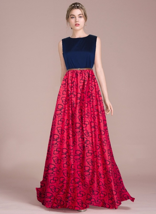 Buy Elegant Look Crepe Pink & Blue Printed Stitched Party Wear Gown ...