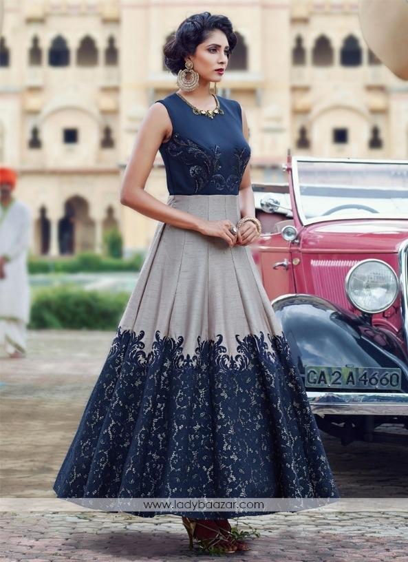 f3fc3b4a37 Bollywood Stylist Designer Navy Grey Banglori Silk Pure Hand Work Semi-Stitched  Anarkali Suit