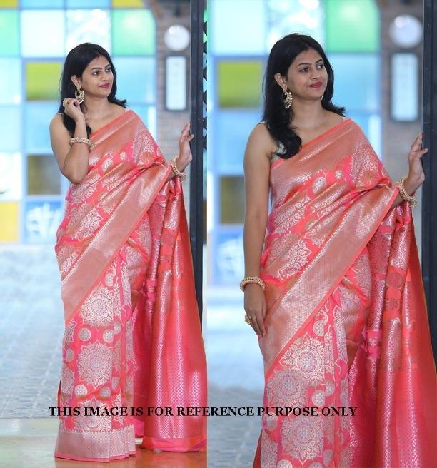 124988dafb Wedding Wear Lichi Silk Thread Zari Designer Saree bridal Pink Women  Lattest Sari Blouse 1445