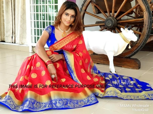 771e253d86 Red Kanjivaram Silk Designer Saree Indian Women Bridal Party Wear Thread  Sari Blouse 1405
