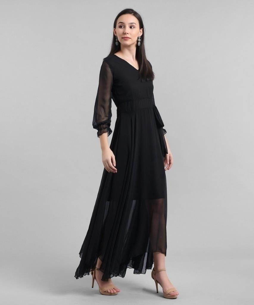 Women's Georgette Solid Maxi Dress
