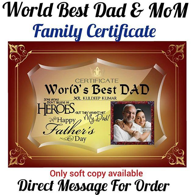 buy world best dad certificate online from photo art store